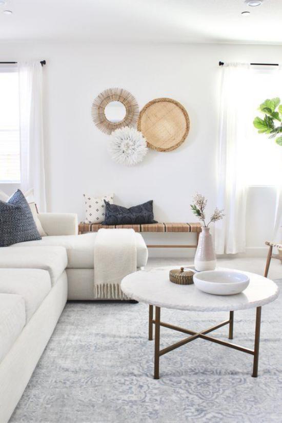 Wohnzimmer optisch erweitern heller Raum weiße Möbel