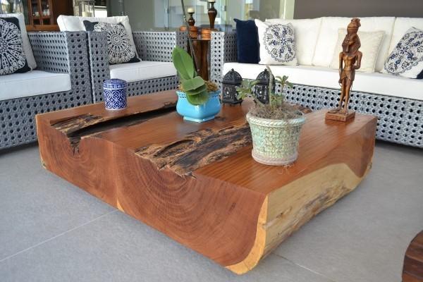 Wohnzimmertisch deko Holzmöbel Ideen