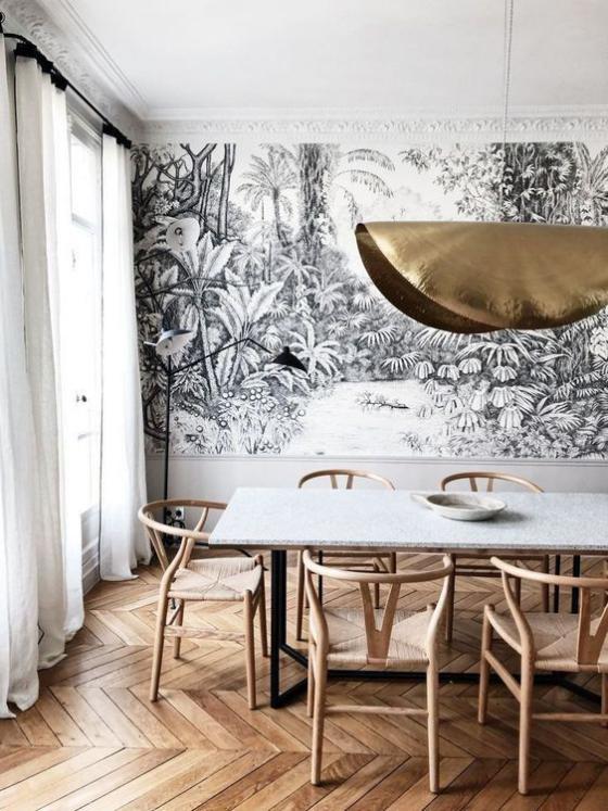 Zeitgemäße Raumgestaltung Esszimmer sehr stilvoll gestaltet Wanddeko iden