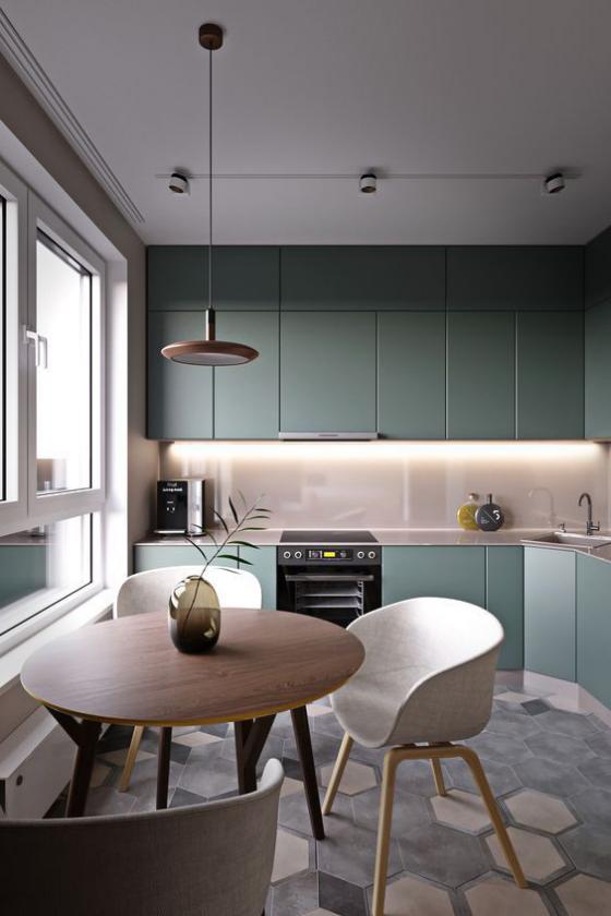 Zeitgemäße Raumgestaltung Küche moderne Beleuchtung Hängelampe eingebaute Strahler