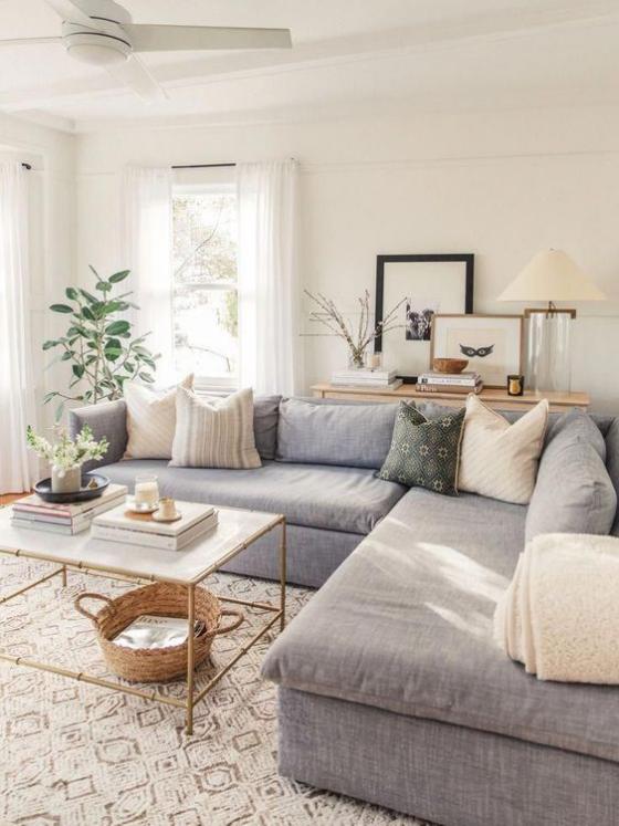 Zeitgemäße Raumgestaltung helle Möbel Teppich Sofa einfaches Farbschema Kissen Gummibaum in der Ecke