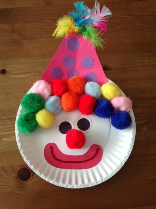 basteln mit kindern zu fasching clown aus bommeln