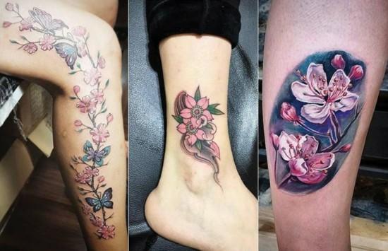 bunte 3d kirschblüten tattoo
