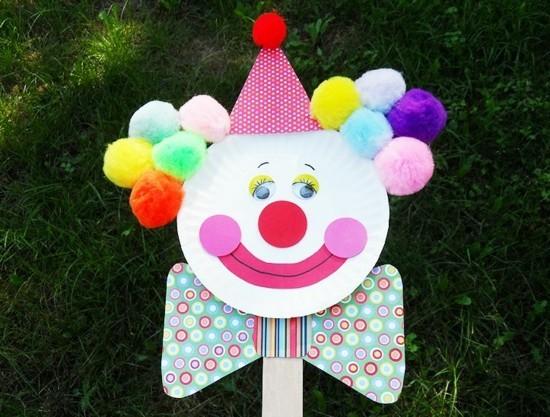 clown basteln mit kindern zu fasching
