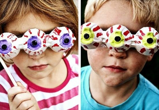 drei augen maske aus eierkarton basteln mit kindern