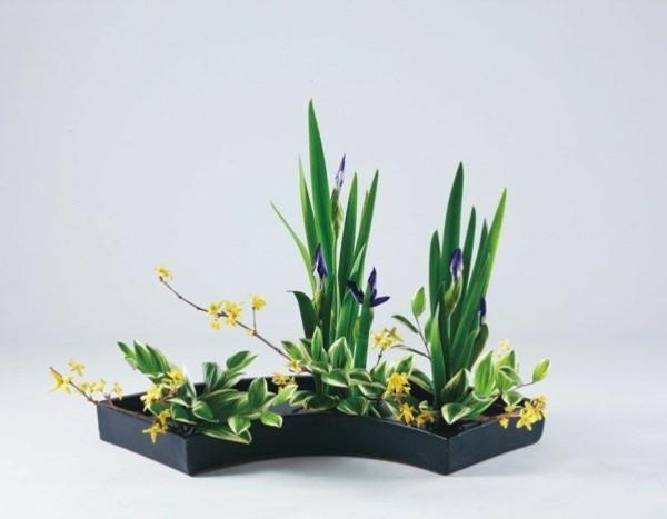 iris frühlingsblüten ikebana japanische blumensteckkunst