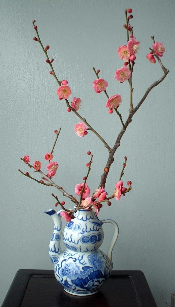 japanische blumensteckkunst kirschblüten porzellan vase