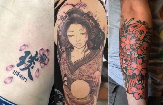 japanische motive kirschblüten tattoo