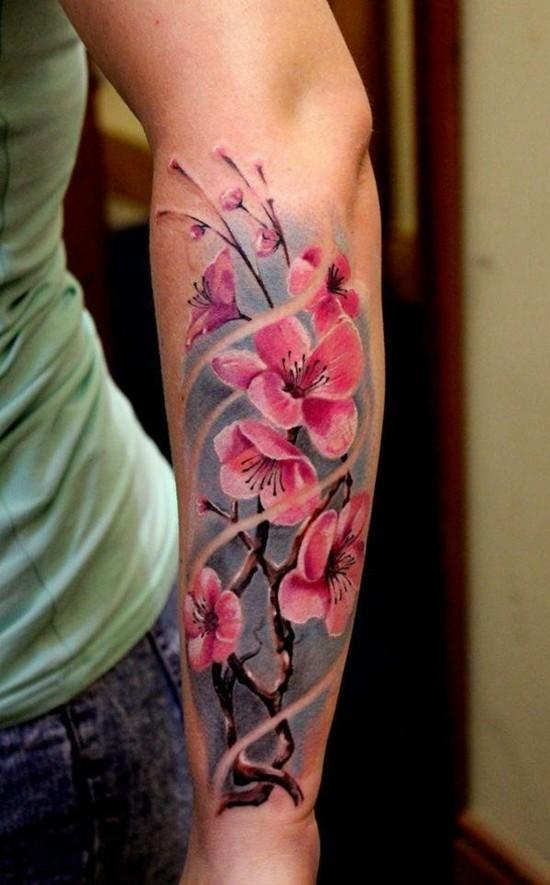 kirschblüten tattoo unterarm
