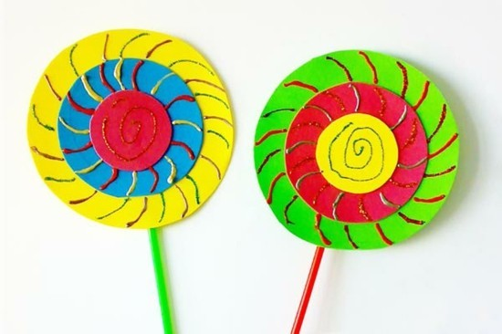 lolly pops basteln mit kindern zum karneval