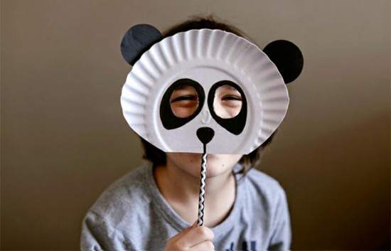 panda maske basteln mit kindern zu fasching