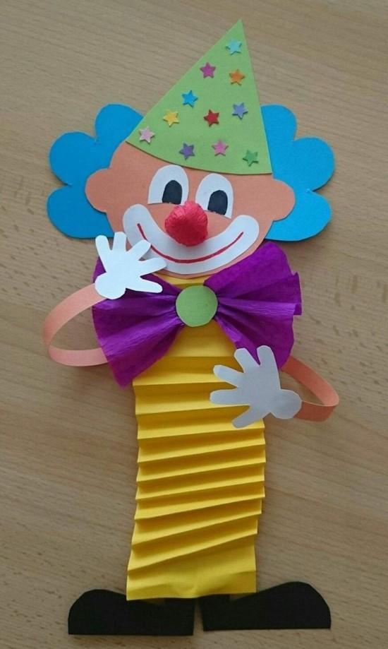 papierclown basteln mit kindern zum karneval