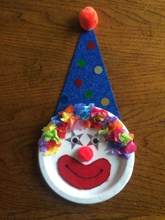 pappteller clown basteln mit kindern