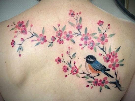 rücken kirschblüten tattoo mit vogel