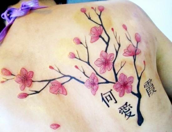 rücken tätowierung kirchblüten tattoo rücken
