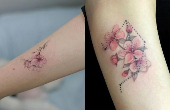 wasserfarben kirschblüten tattoo unterarm