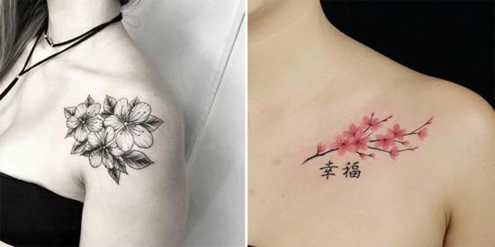 wunderschöne kirschblüten tattoo ideen schulter