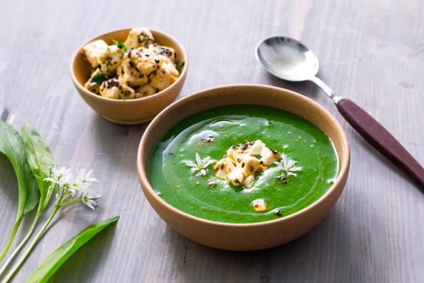 Bärlauch in der Küche frische grüne Bärlauch Suppe mit essbaren Blüten dekoriert