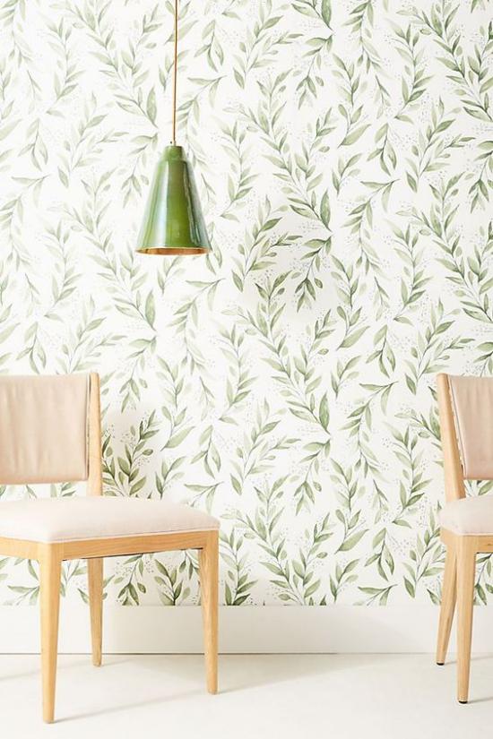 Blumentapeten Deko Trend 2020 stilisierte florale Motive in Grün