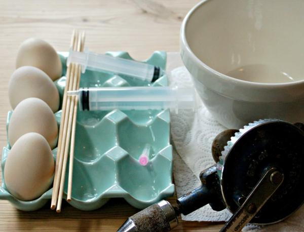 Eier ausblasen Tipps Anleitung Osterdeko basteln