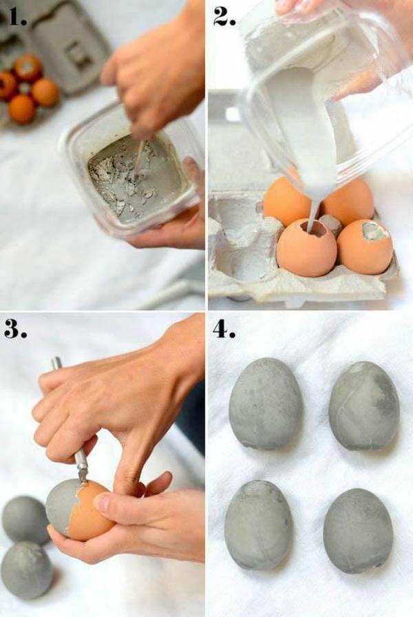 Eier ausblasen und mit beton füllen