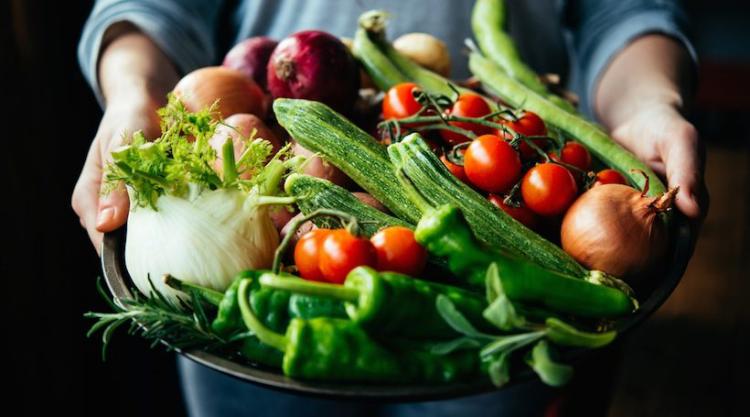 Gesundes und ausgewogenes Essen in Zeiten der Corona-Krise viel Gemüse Tomaten Gurken Sellerie Rosmarin
