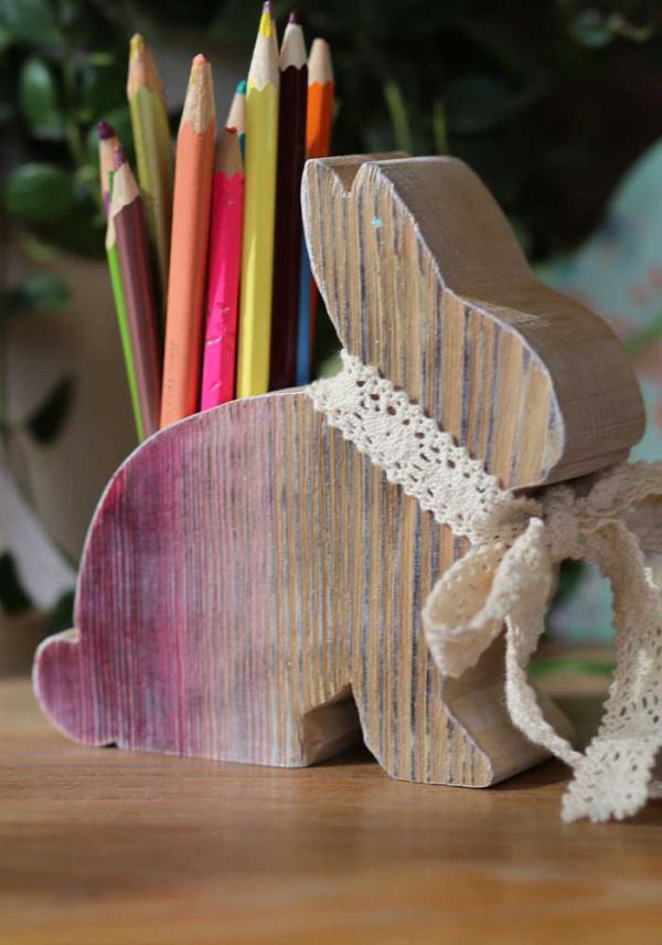 Hase aus Holz schlitzen - Holzhasen - DIY Ideen