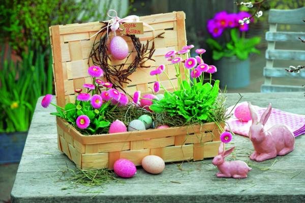 Körbe mit Ostereiern - Basteln mit Kindern