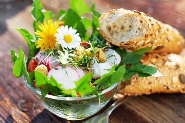 Kulinarische Löwenzahn Anwendung Frühlingssalat mit Löwenzahnblättern Radieschen Tomaten essbare Blüten