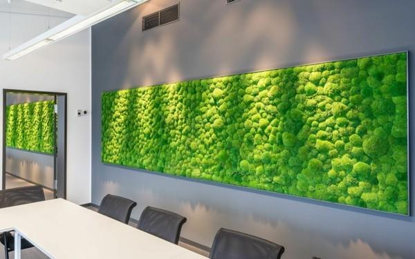 Mooswand Biophilie grüne Wandgestaltung deb Essbereich beleben
