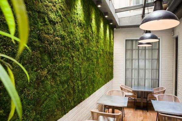 Mooswand Biophilie grüne Wandverkleidung öffentliche Räume