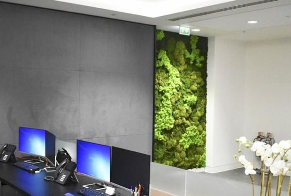 Mooswand Biophilie grüne Wandverkleidung Arbeitsplatz Office einrichten