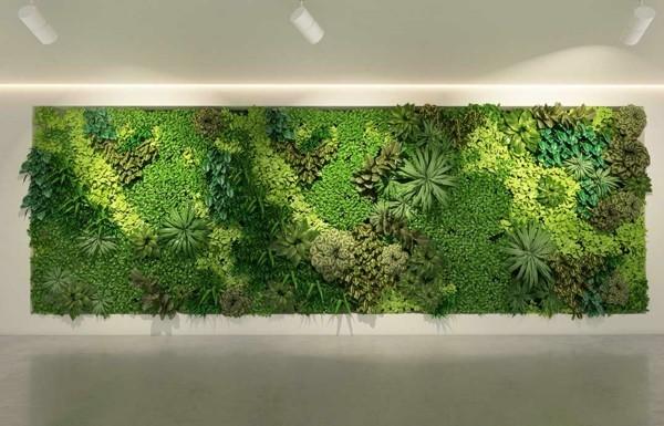 Mooswand Biophilie grüne Wandverkleidung Moosarten kombinieren