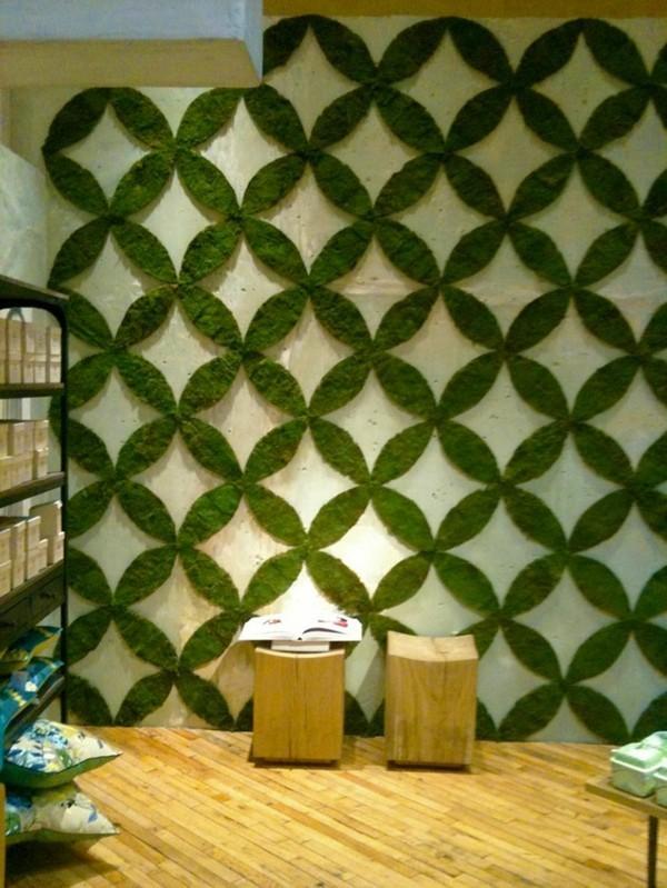 Mooswand Biophilie grüne Wandverkleidung verspieltes Muster