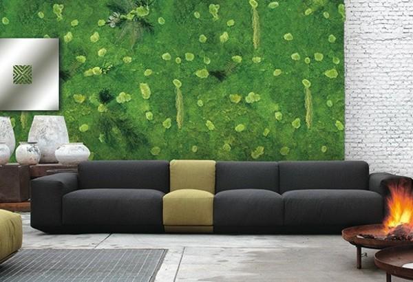 Mooswand selber machen Biophilie Wohntrends Wohnzimmer Wandgestaltung