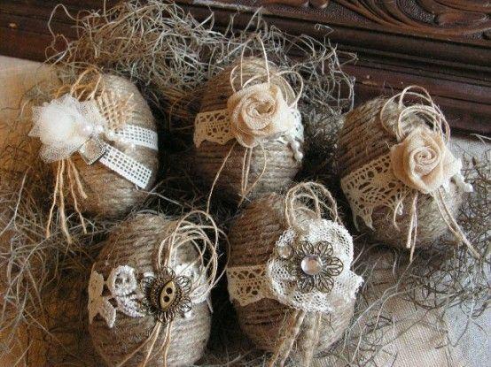 Oster-Bastelideen - Ostereier - Blumen - Bänder