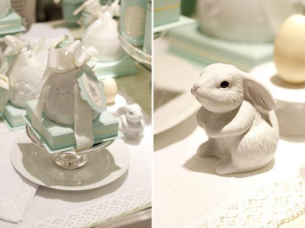 Oster-Bastelideen - kleine Hasenfiguren - Basteln auf dem Tisch