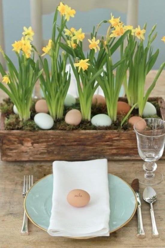 Osterdeko in Pastellfarben gelbe Narzissen Eier im Holzkasten arrangiert awinziger Garten als Blickfang