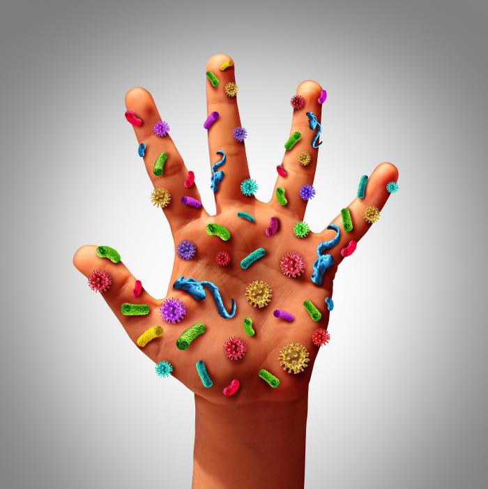 Richtiges Händewaschen viele Viren an einer Hand unsichtbar mit bloßem Auge sich vermehren