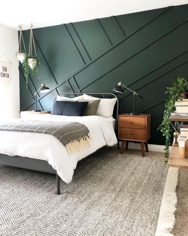 Schlafzimmer Ideen grüne Akzentwand Wohnideen Wohngestaltung