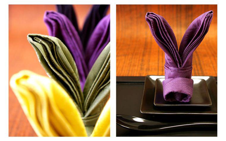 Servietten Falten - Servietten in Lila und gelber Farbe