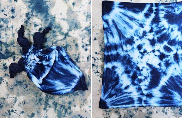 Shibori Technik - sehr schöner blauer Stoff