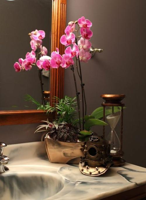 Tischdeko mit Orchideen Deko Ideen Badezimmer Waschbecken
