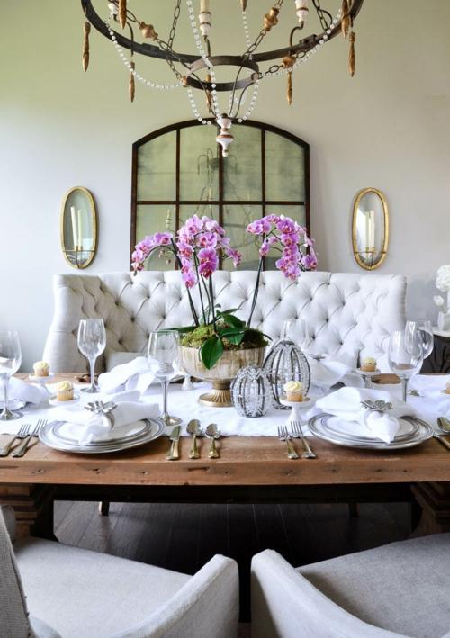 Tischdeko mit Orchideen festliche Tischdekoration
