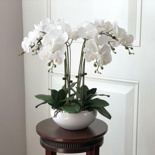 Tischdeko mit Orchideen weiß Hausdekoration Ideen