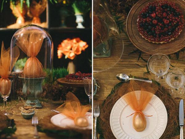 Tischgestaltung mit glanzvollen Elementen Oster-Bastelideen