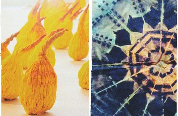 Verschiedene schöne Stoffe Shibori Technik