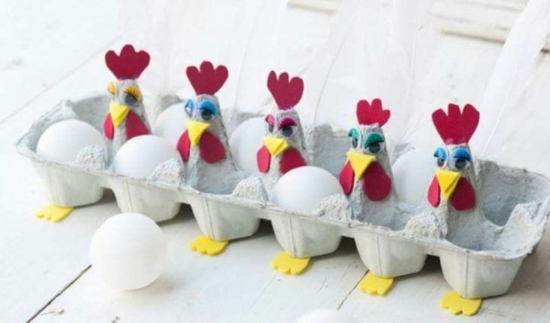 basteln mit eierkarton hühner osterbasteln