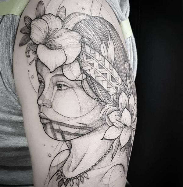 indianer tattoo - schönes frauengesicht