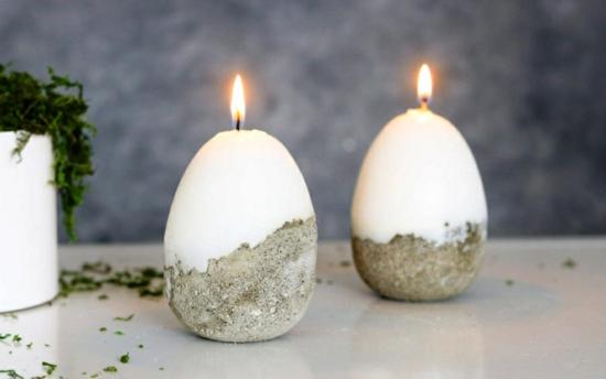 osterdeko aus beton ostereier kerzen selber machen